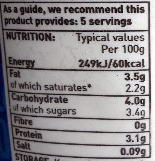 ASDA Full Fat Natural Set Yogurt - Nutrition facts