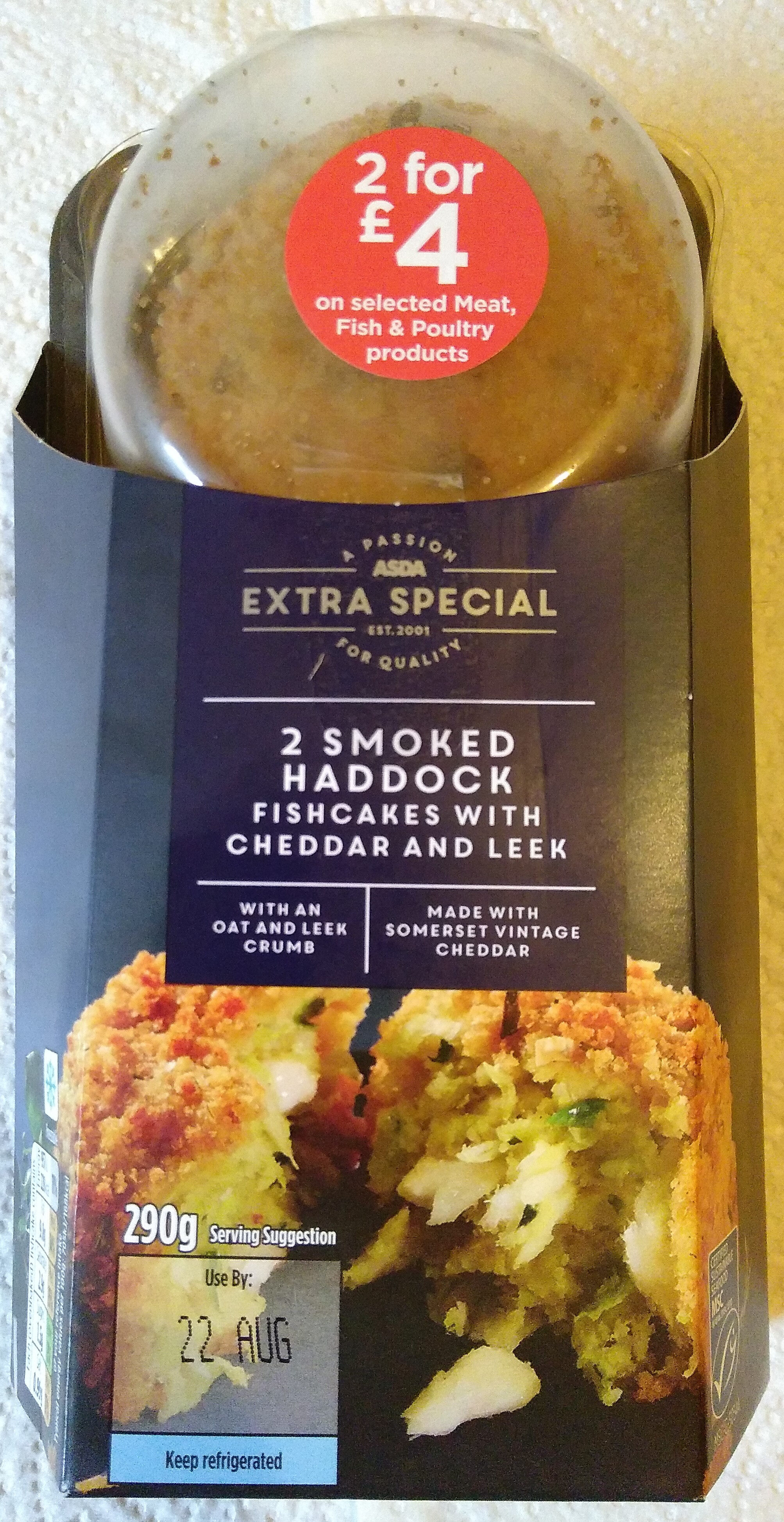 Extra Special 2 Smoked Haddock Fishcakes with cheddar and leek - Produit - en