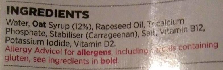 Long life oat - Ingredients