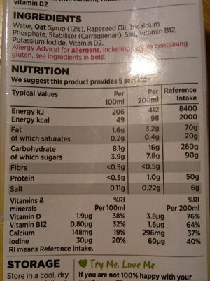 Long life oat - Nutrition facts