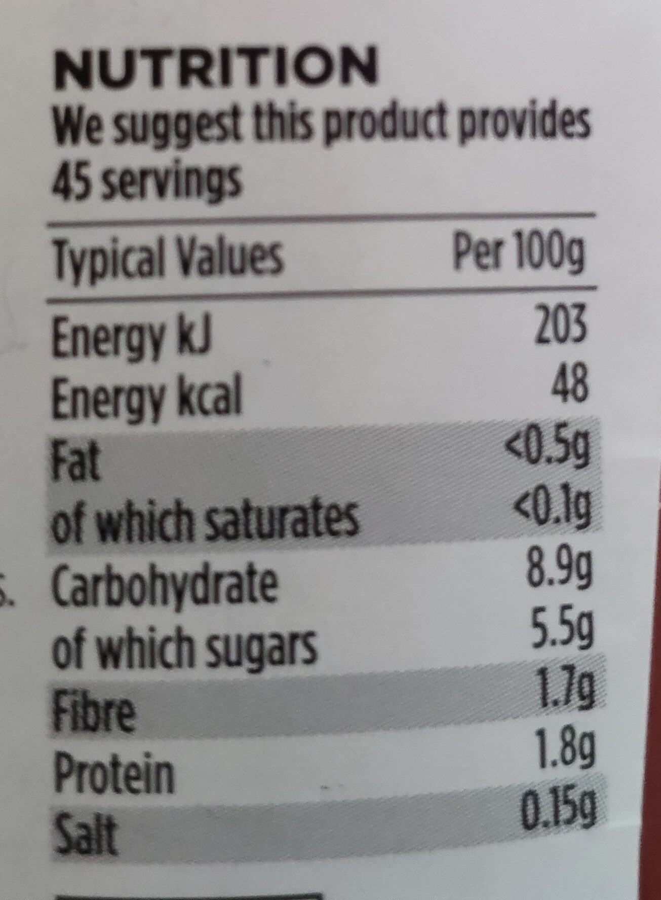No added Sugar & Salt Tomato Ketchup - Nutrition facts - en