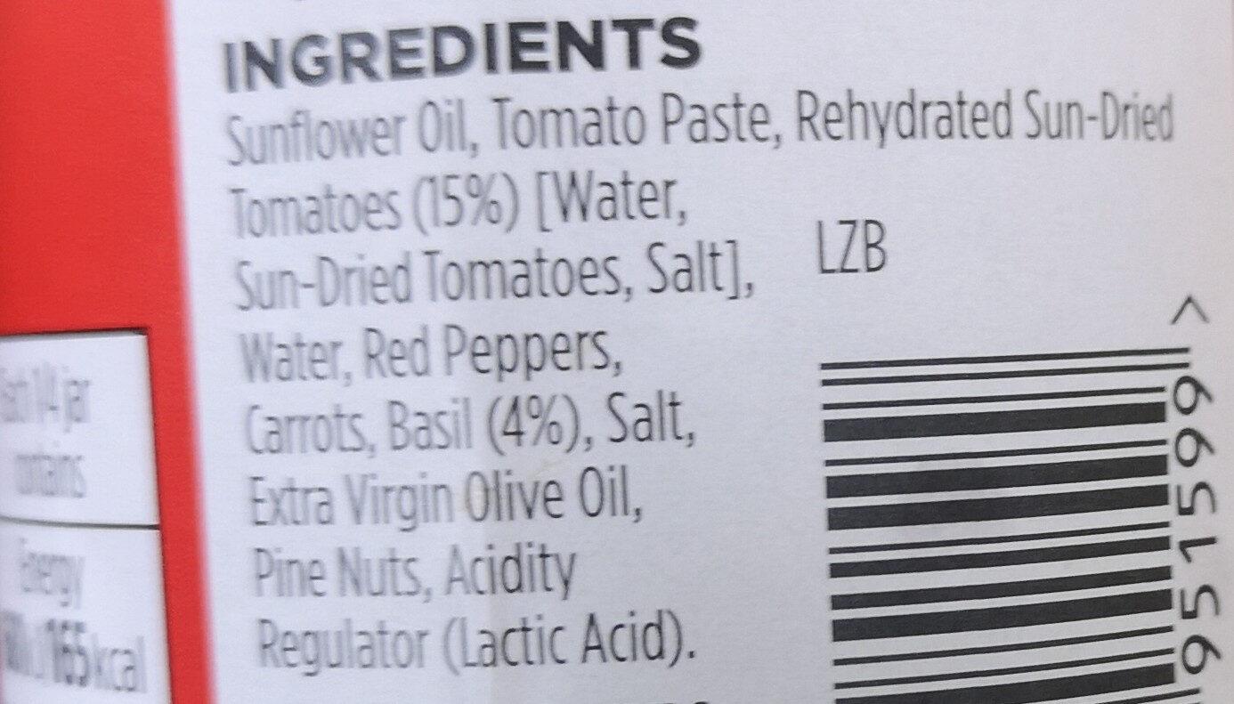 Free From Red Pesto - Ingredients - en