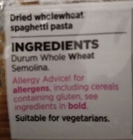 Wholewheat spaghetti - Ingredients