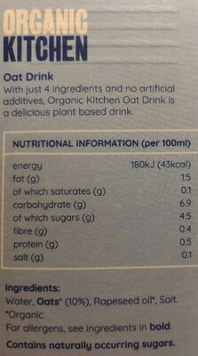 Oat drink - Nutrition facts