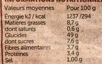 Pain de Mie Tranché Sans Gluten - Informations nutritionnelles - fr