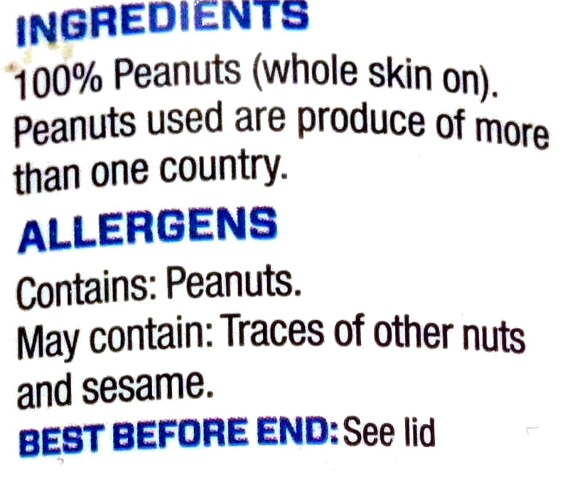 Peanut Butter Crunchy - Ingredients