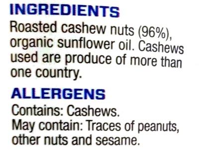 Cashew Butter - Ingredienti