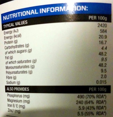 Cashew Butter - Informazioni nutrizionali
