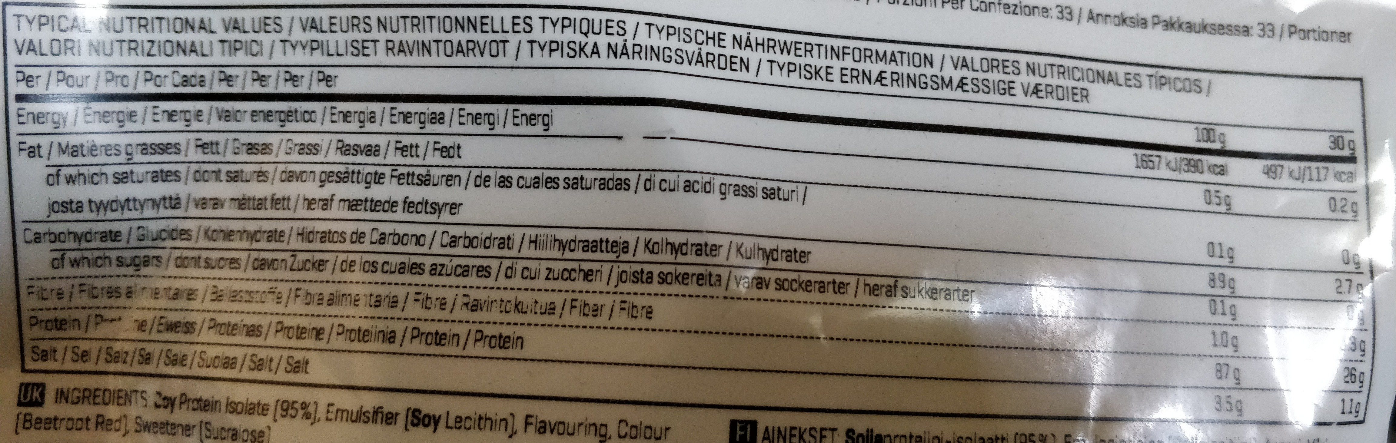 soy protein isolate - Nutrition facts
