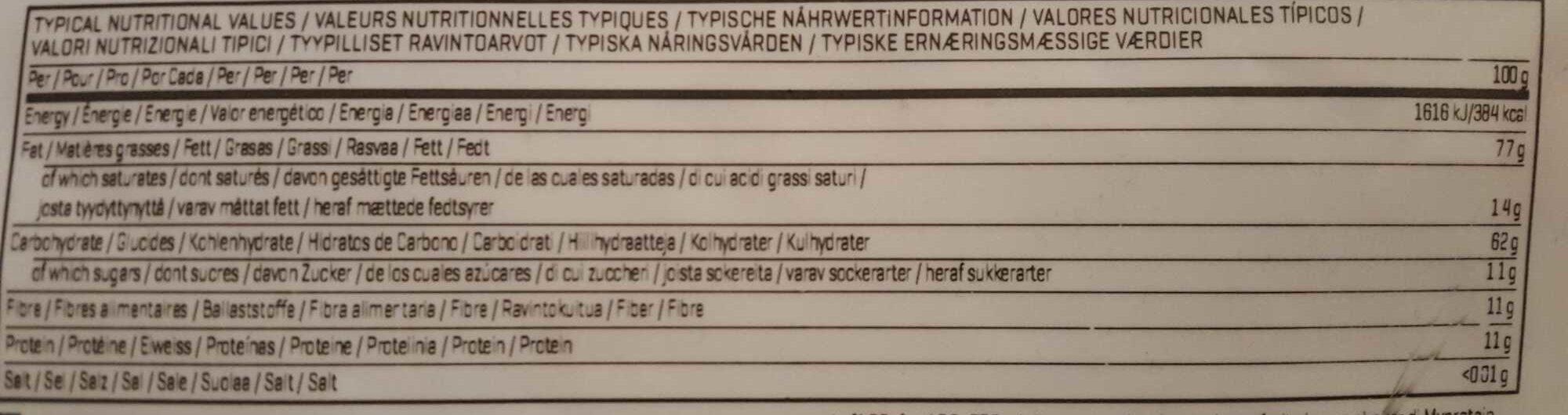 Instant oats sans arôme - Informations nutritionnelles