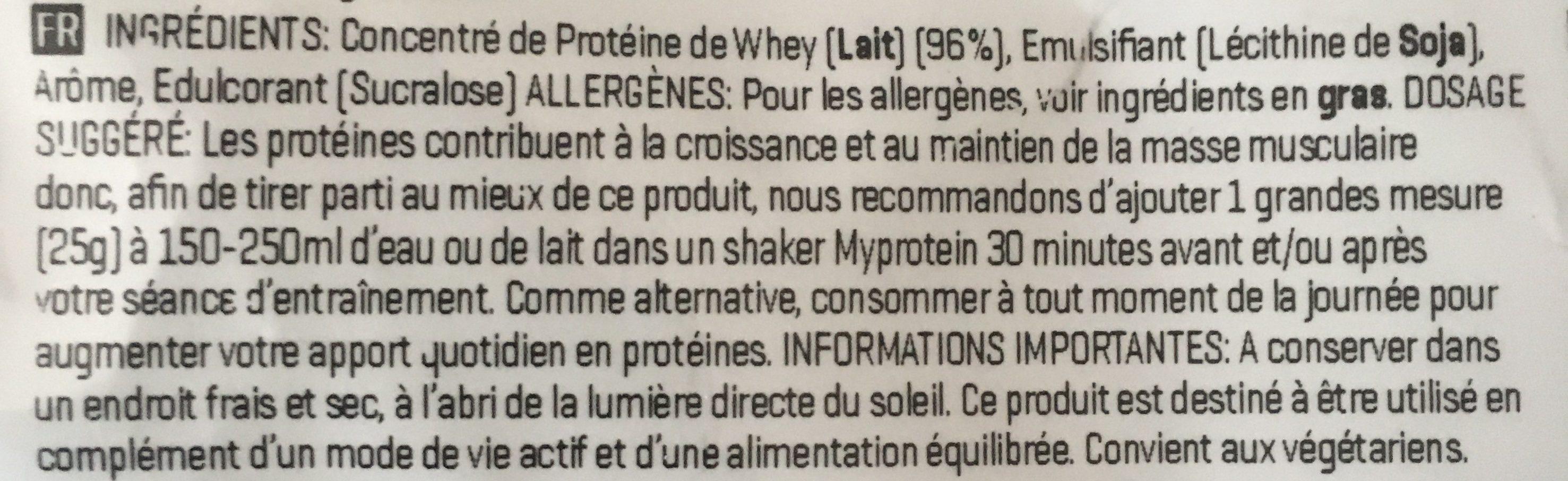 Impact Whey Protein - 2500G - Vanille - Ingrediënten