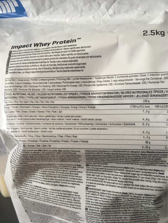 Impact Whey Protein vanille - Voedingswaarden - fr