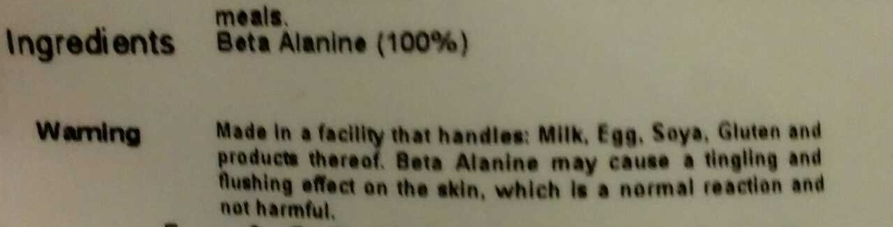 Beta Alanine - Ingrediënten