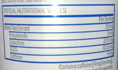 MyProtein Green Tea Extract 360 tablets - Informations nutritionnelles - en