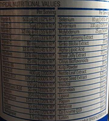 My Protein Alpha Men - 120 Gel Capsules - Informations nutritionnelles - fr