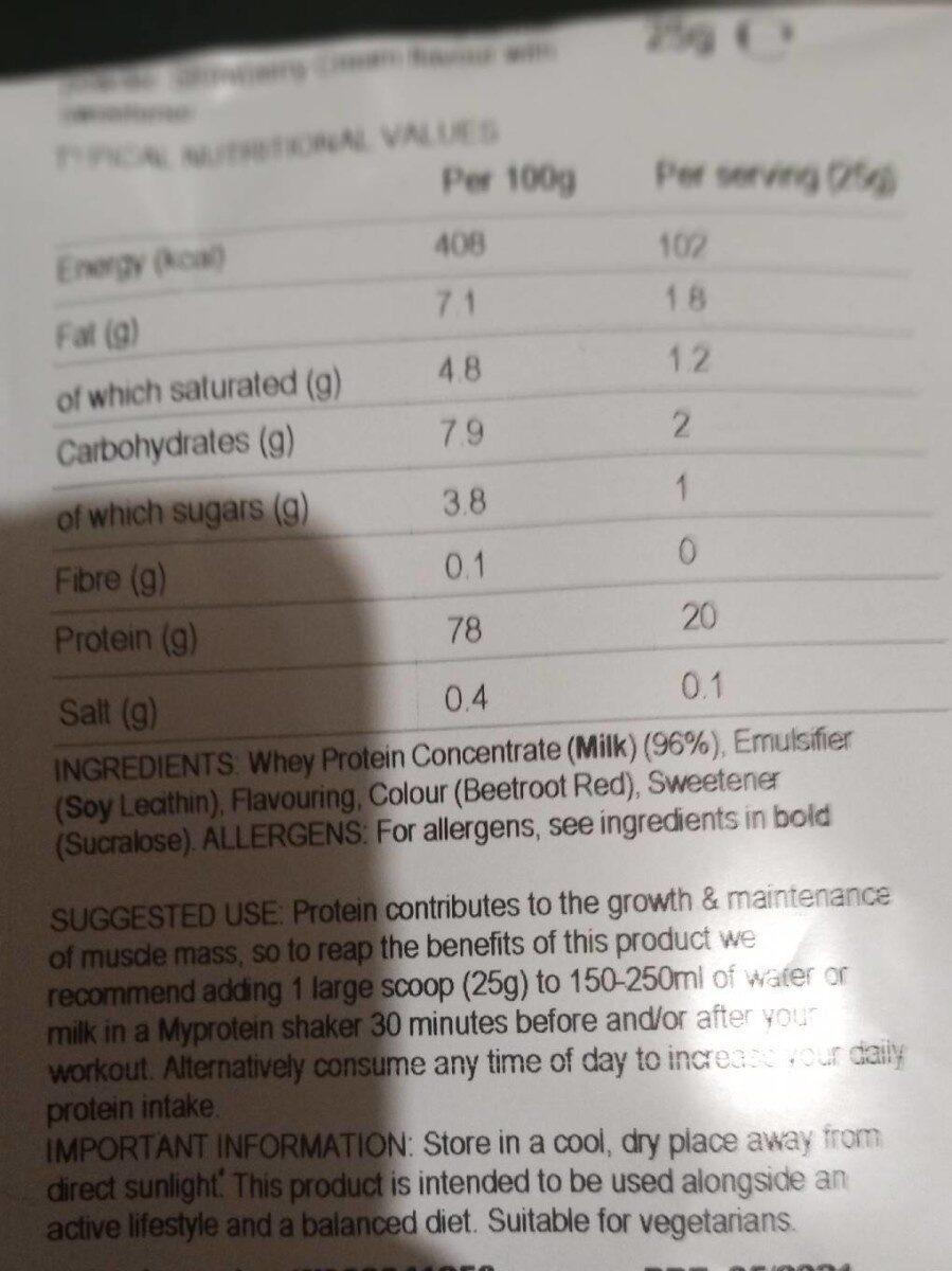 Impact whey protein - Información nutricional - es