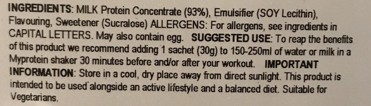 Milk protein smooth - Ingrediënten