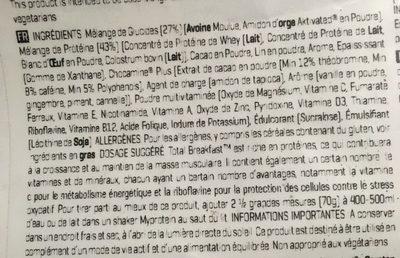 Myprotein Total Breakfast, Chocolat Moelleux, Poche, 2.1 KG - Ingrédients - fr