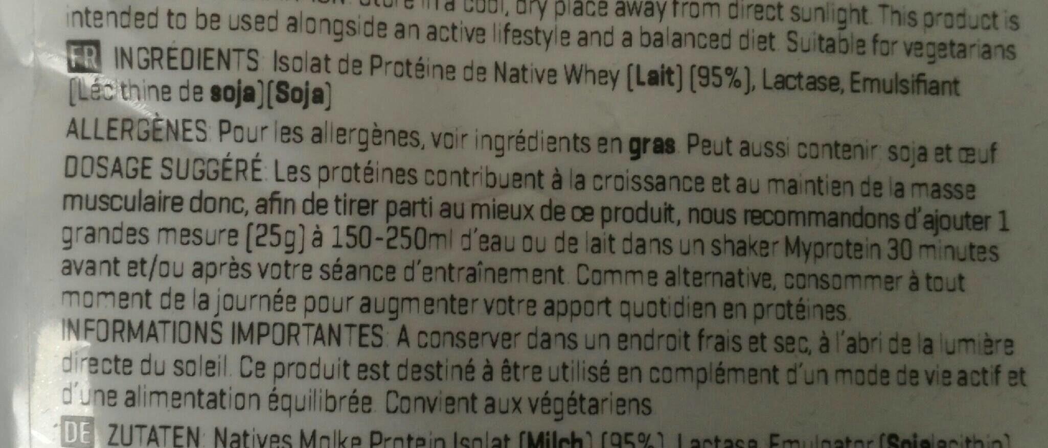 Impact Native Whey 95 - Ingrediënten