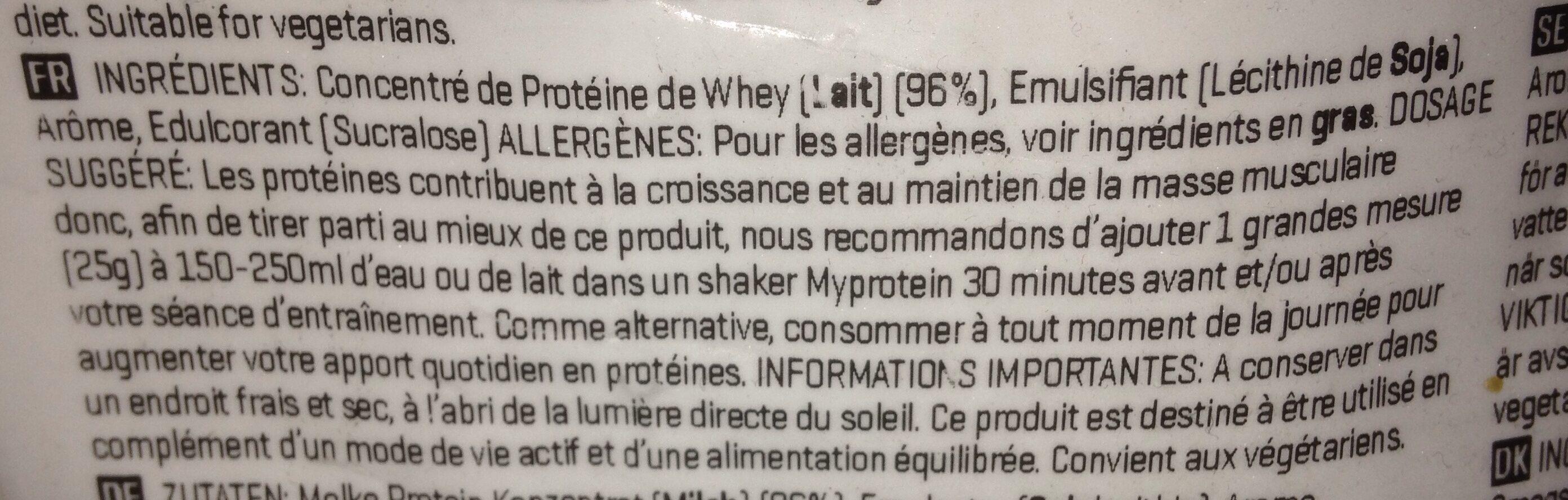 Impact Whey Protein - 1000G - Limone-käsekuchen - Ingrédients - fr