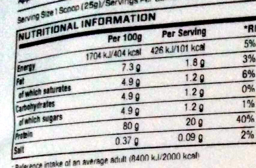 Impact Whey Protein Nutritional Info Impact Whey Protein Apple