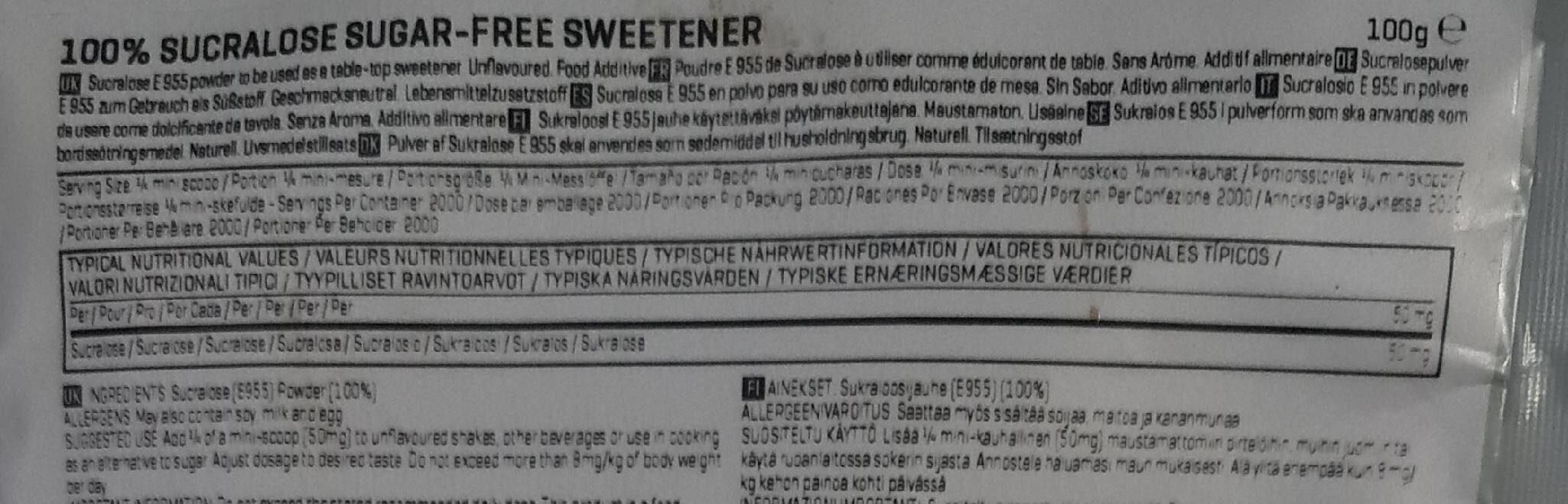 Sucralose - Unflavoured - 100G - Informations nutritionnelles - fr