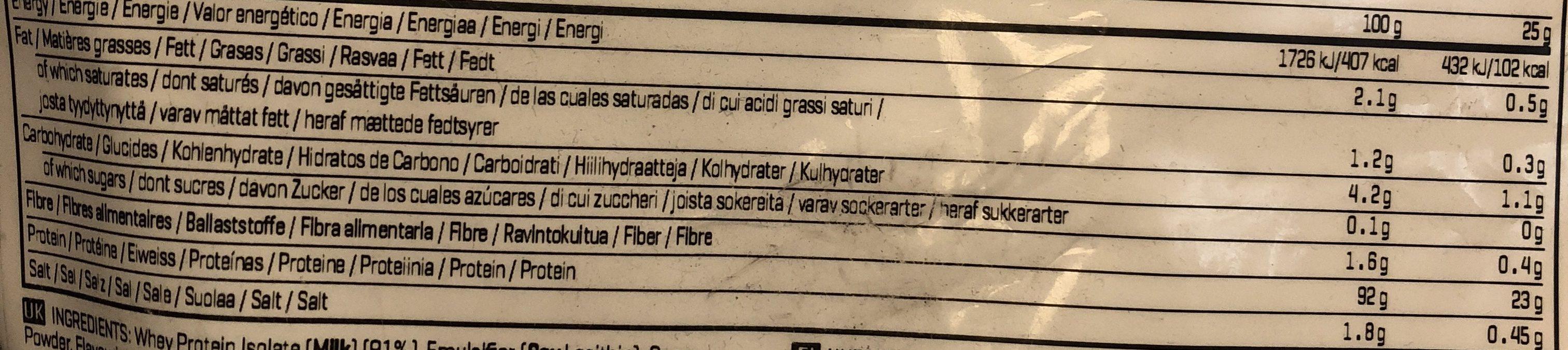 Iso:pro 97 - Chocolate - 2500G - Ingrediënten