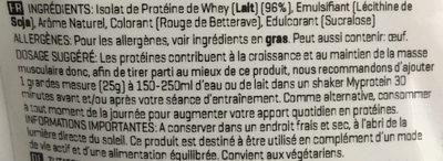 Impact whey isolate - Ingrédients