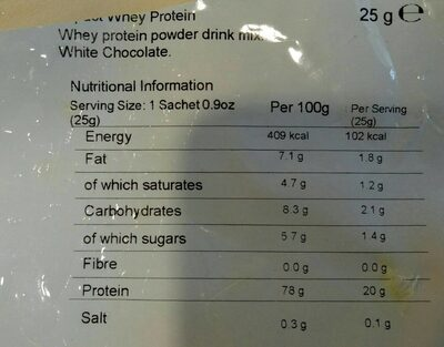 Impact Whey Protein (sample) - White Chocolate - 25G - Nutrition facts