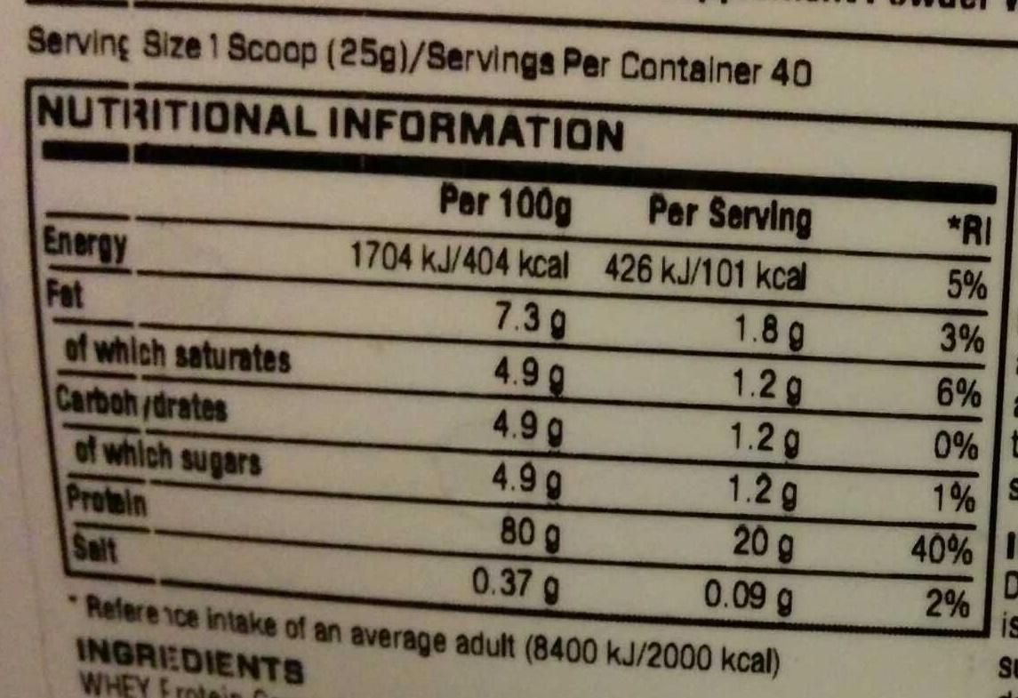 Impact Whey Protein Nutritional Info Impact Whey Protein White