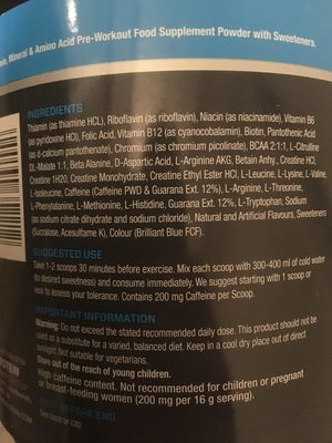 Myprotein Mypre Blue Raspberry - Ingredients - fr