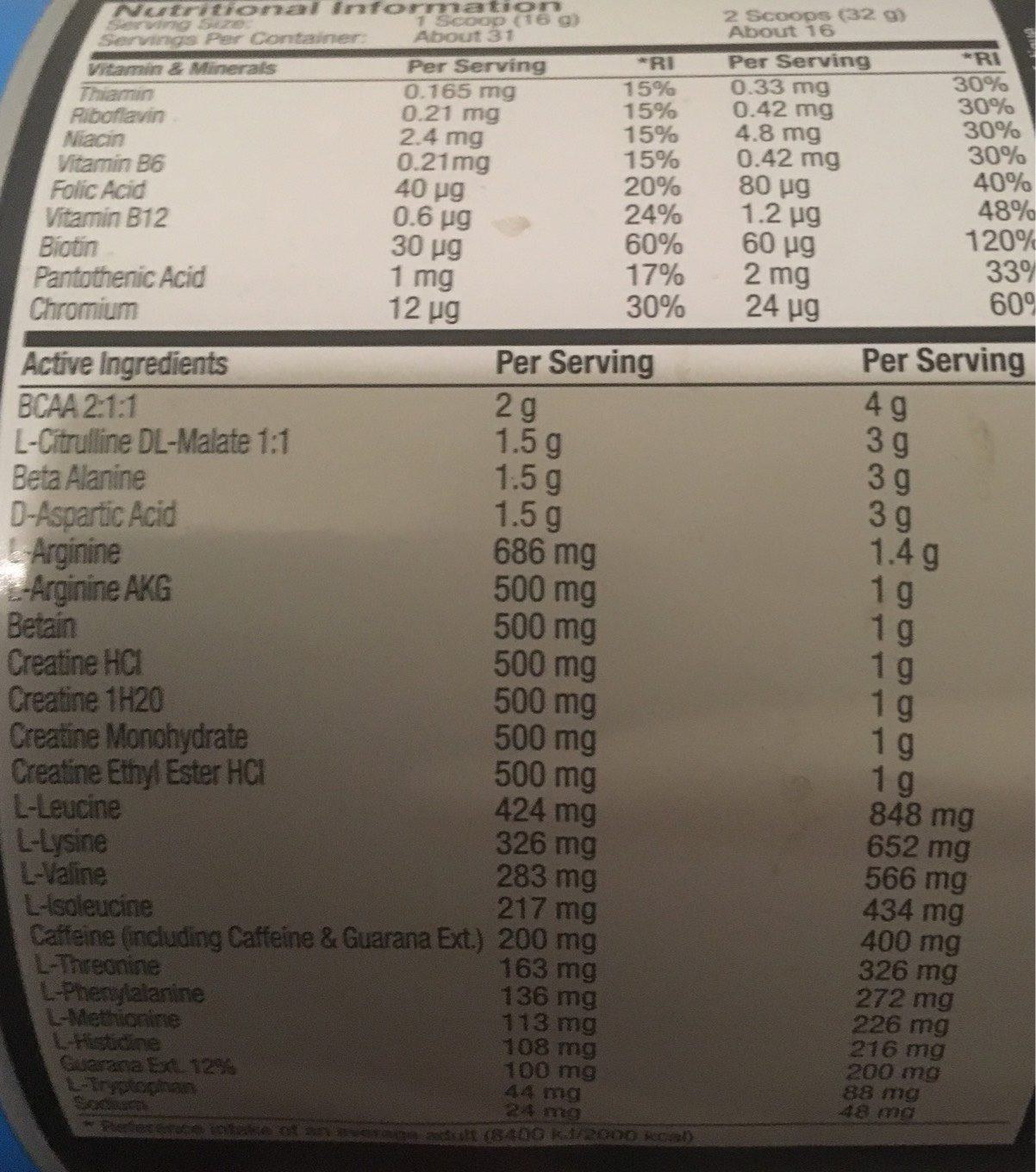 Myprotein Mypre Blue Raspberry - Nutrition facts - fr