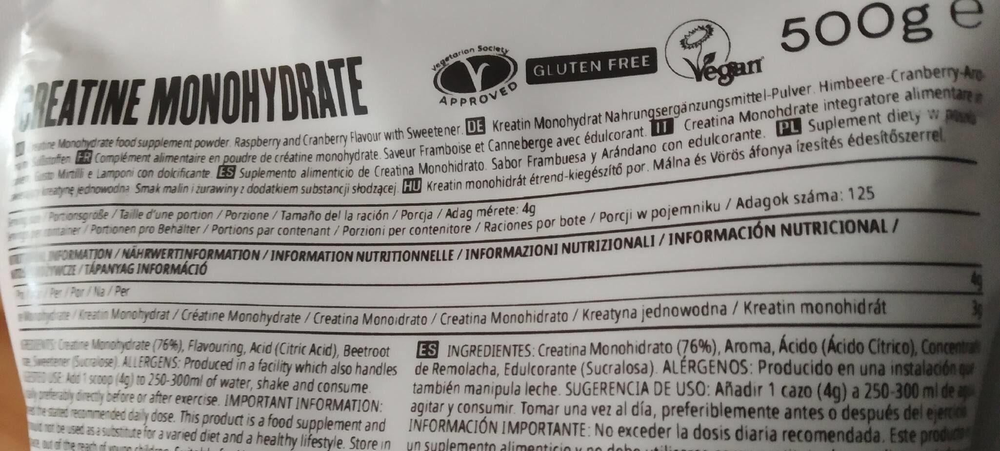 Creatina monohidrato - Información nutricional - es