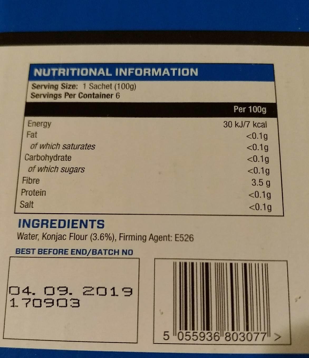 My Fettuccine, Konjac Flour, 6 x - Informations nutritionnelles