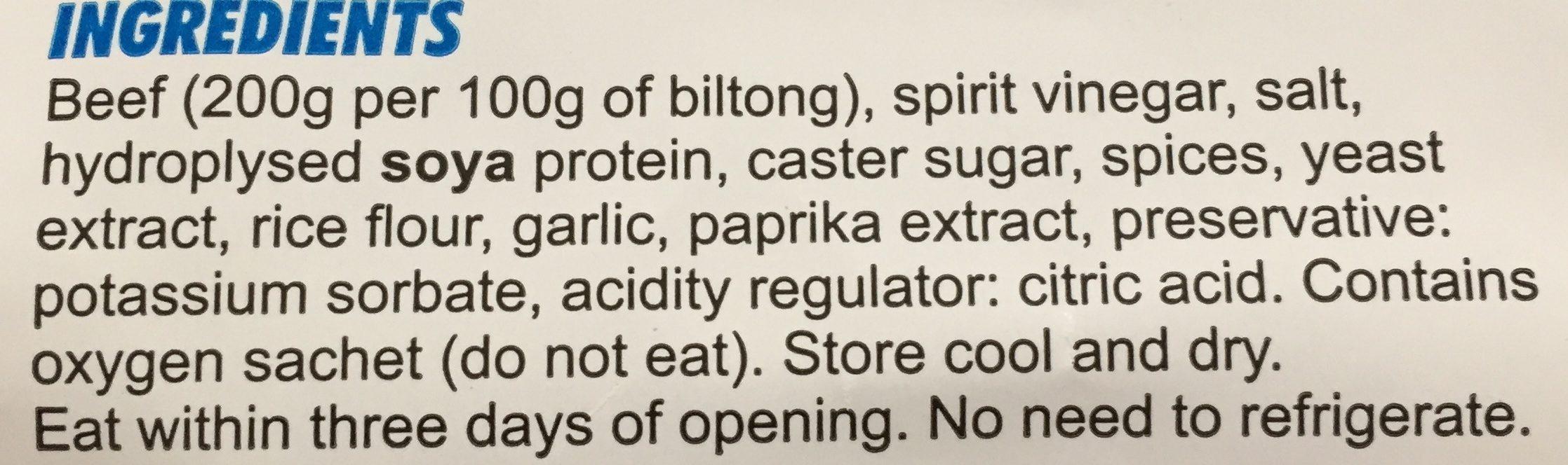 Biltong, Tandoori - Ingrédients