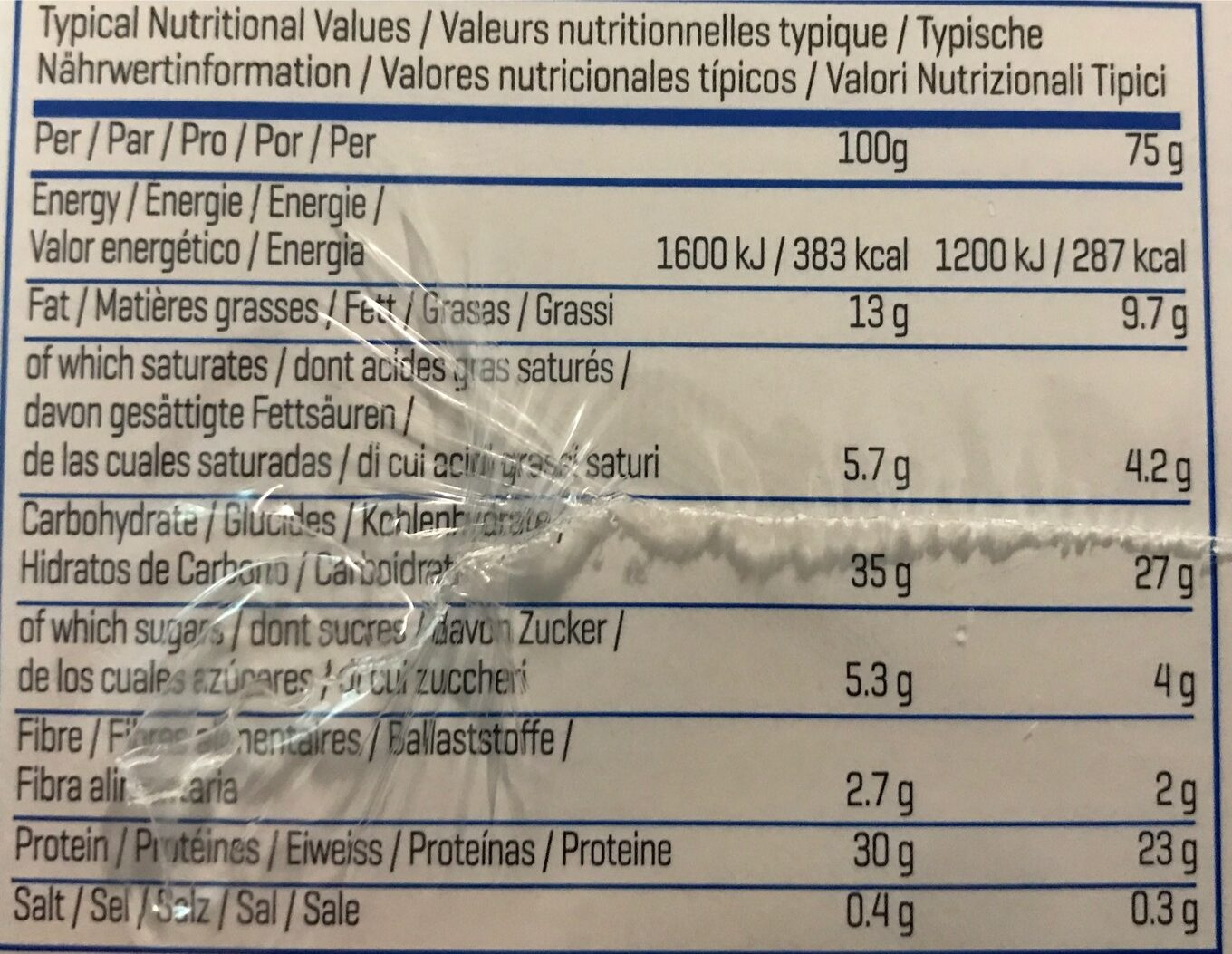 Brownie proteinés - Nutrition facts
