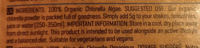 Organic Chlorella Powder - Ingredients - en