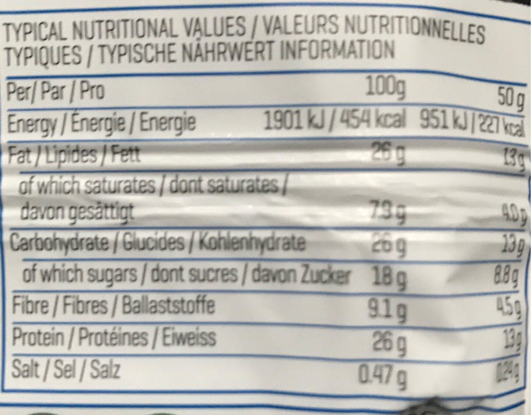 Vegan Protein Bar - Nutrition facts