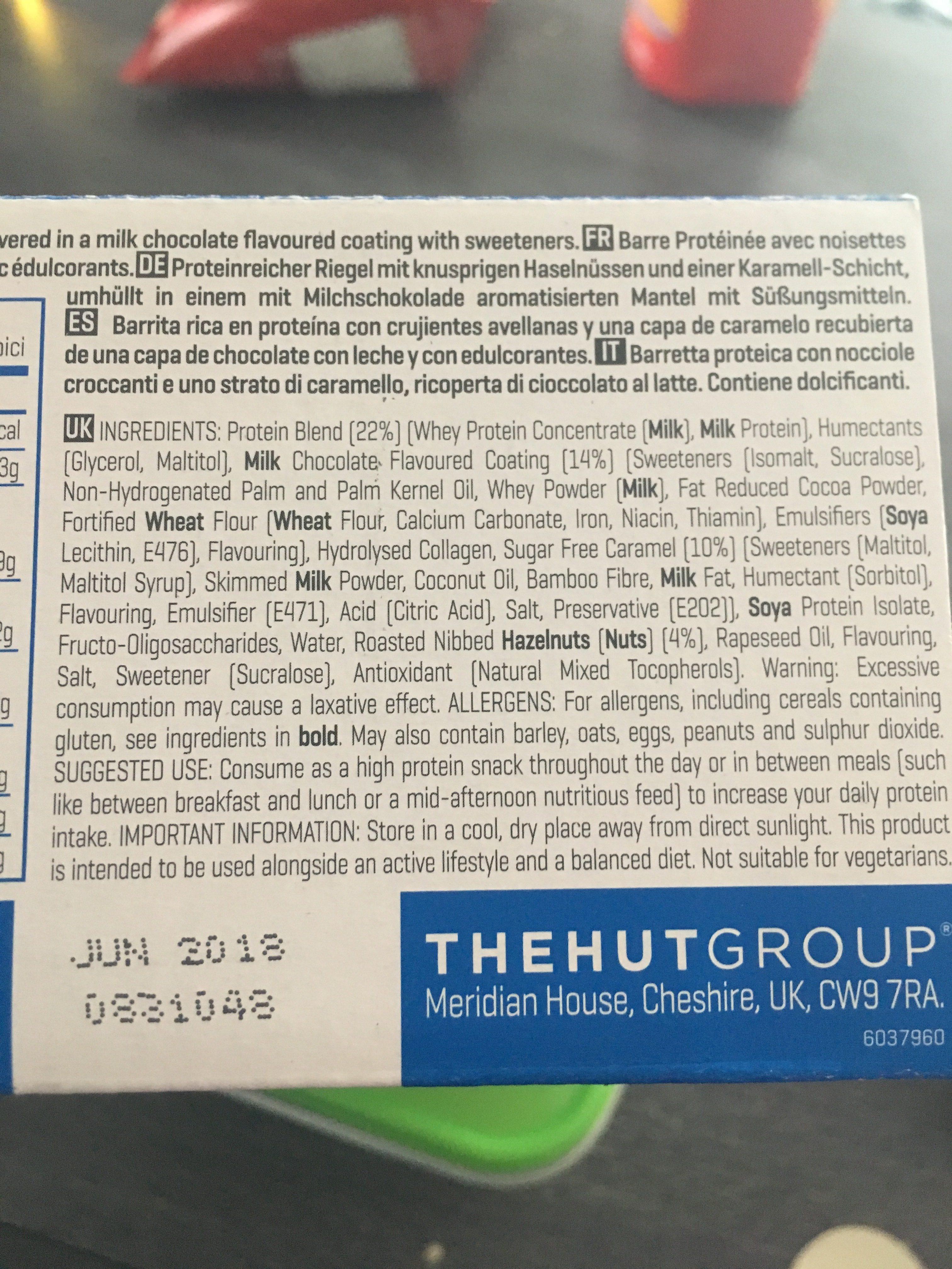 Myprotein Pro Bar Elite, Caramel Hazelnut, 12 X - Ingredients - fr