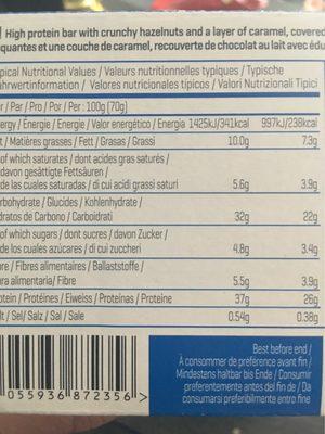 Myprotein Pro Bar Elite, Caramel Hazelnut, 12 X - Nutrition facts - fr