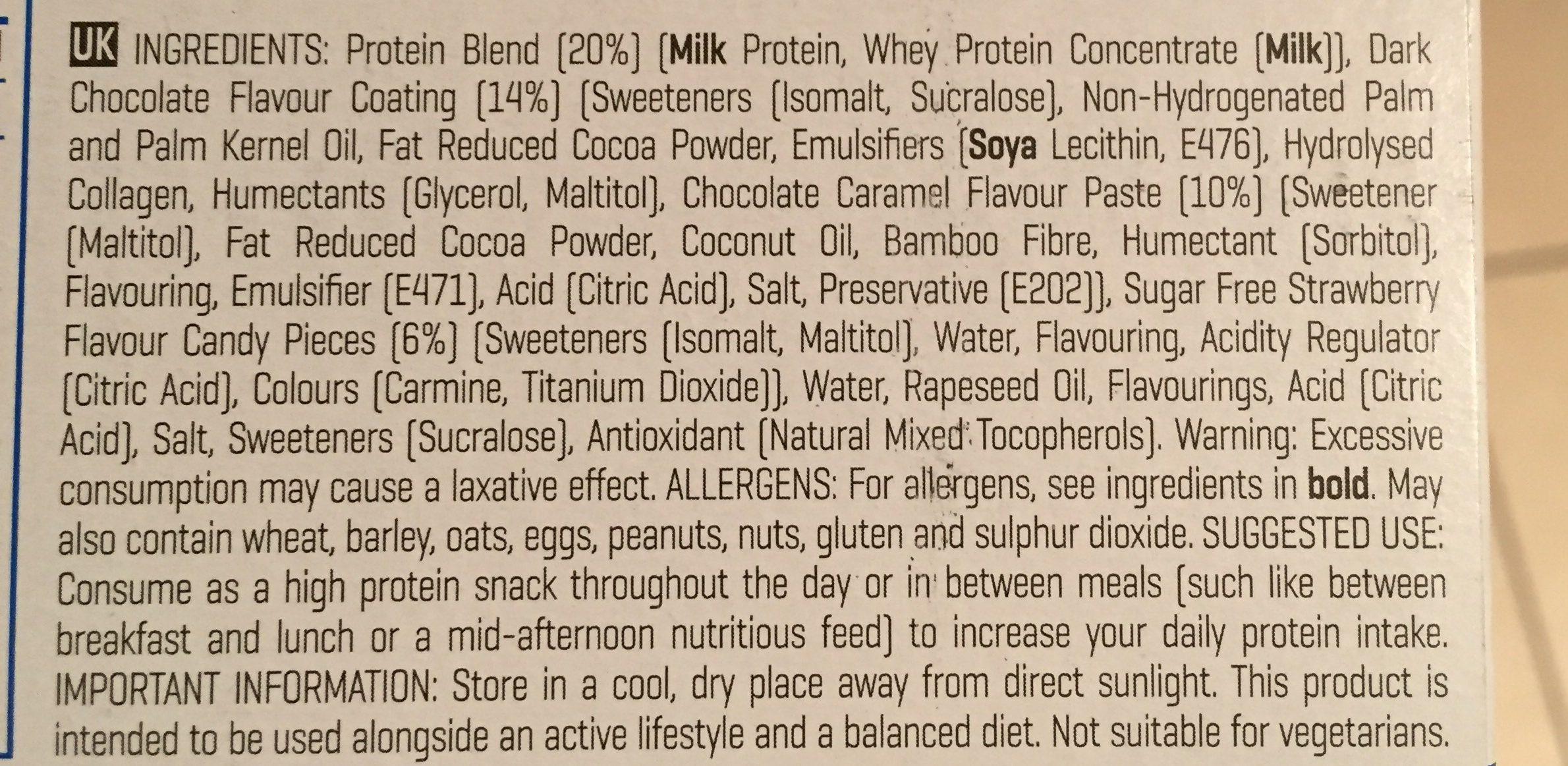 Myprotein Pro Bar Elite, Dark Chocolate Berry, 12 X - Ingrediënten - fr