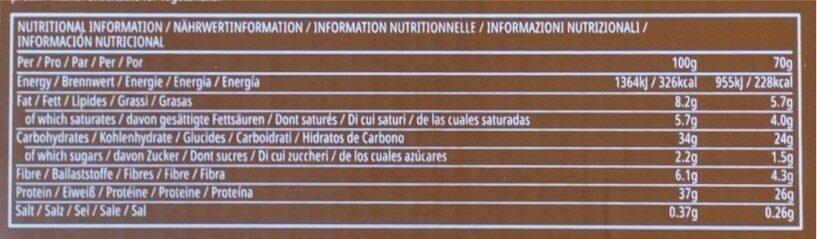 Barre Protéinée Elite Chocolat noir & Baie - Informations nutritionnelles - fr