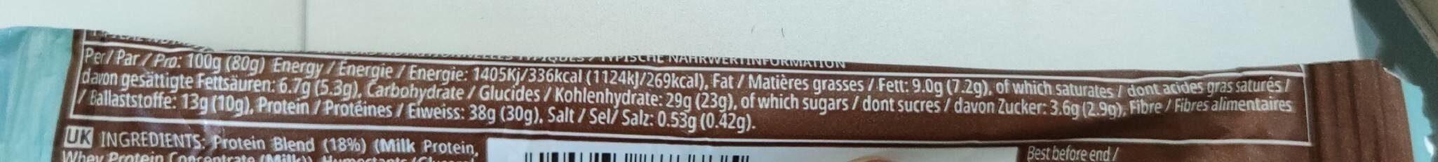 Barre Hyper Protéinée Chocolat Noix de coco - Informations nutritionnelles - fr