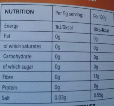 zero calorie syrup - Información nutricional