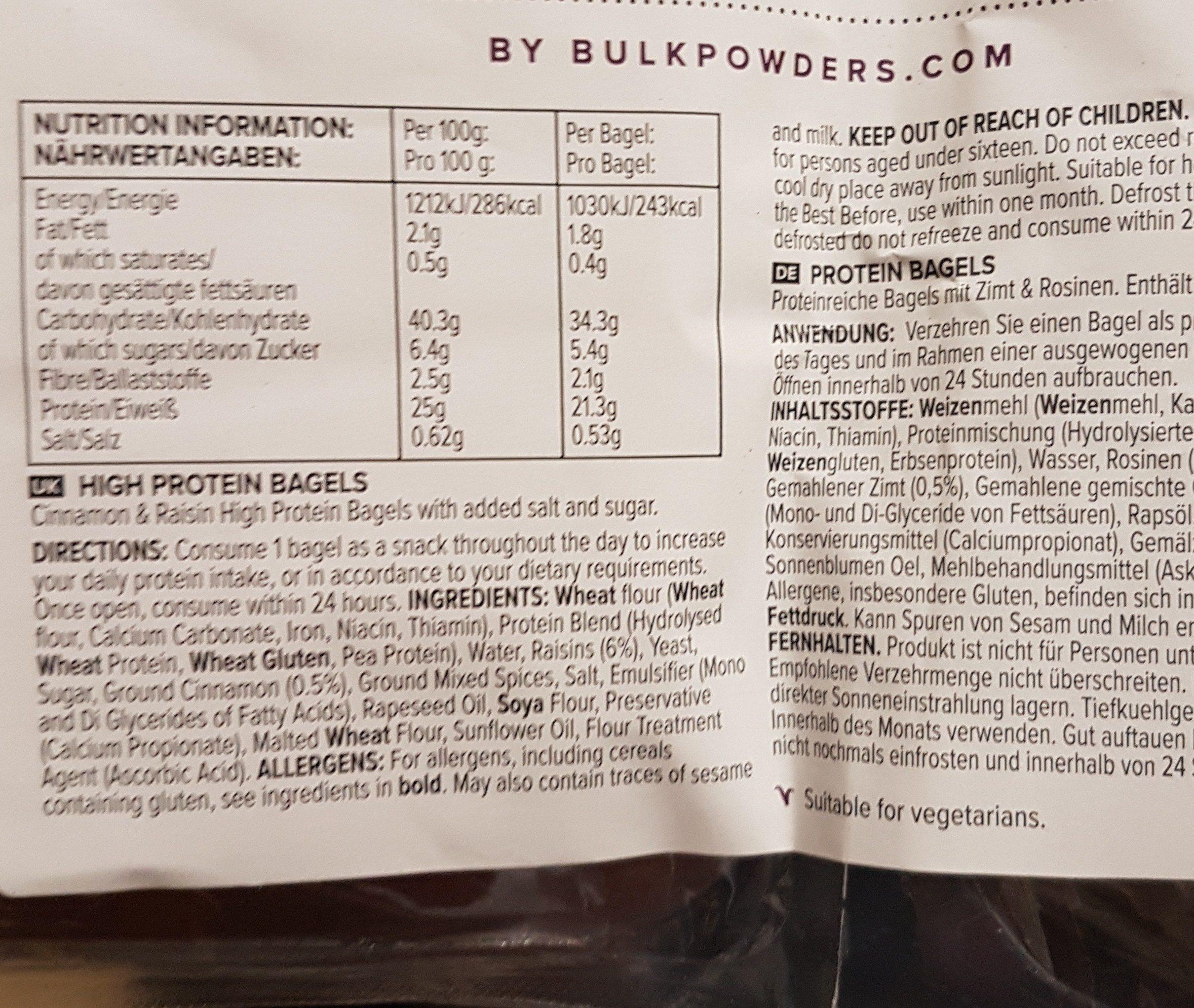 Bagels protéinés cannelle raisin - Ingrédients - fr
