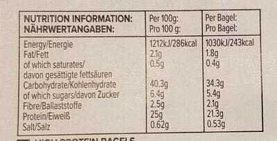 Bagels protéinés cannelle raisin - Informations nutritionnelles - fr