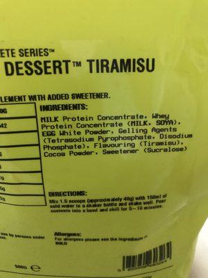 Complete Protein Dessert Tiramisu - Ingrédients - fr