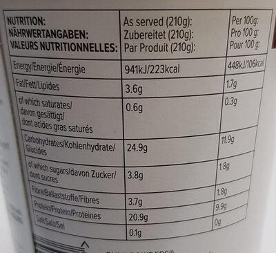 Protein porridge pot - Información nutricional - fr