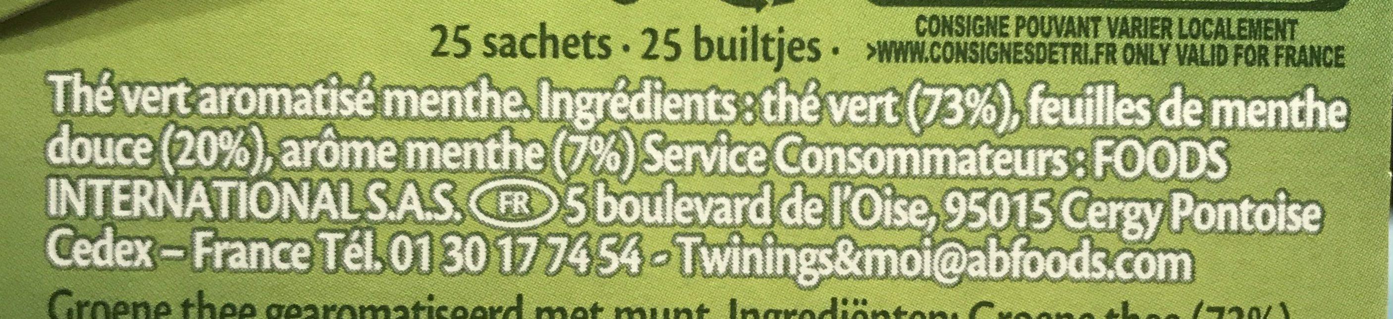 Twinning Thé Vert Menthe - Ingrediënten