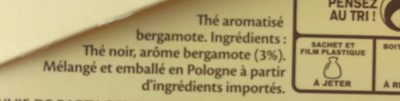 Thé Earl Grey 25 sachets - Ingrédients - fr
